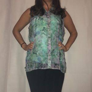 Aeropostale Tops - Button Up Sheer Flower Top